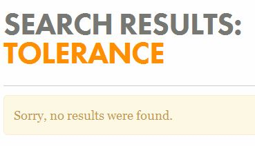 Search results: Tolerance. No results.